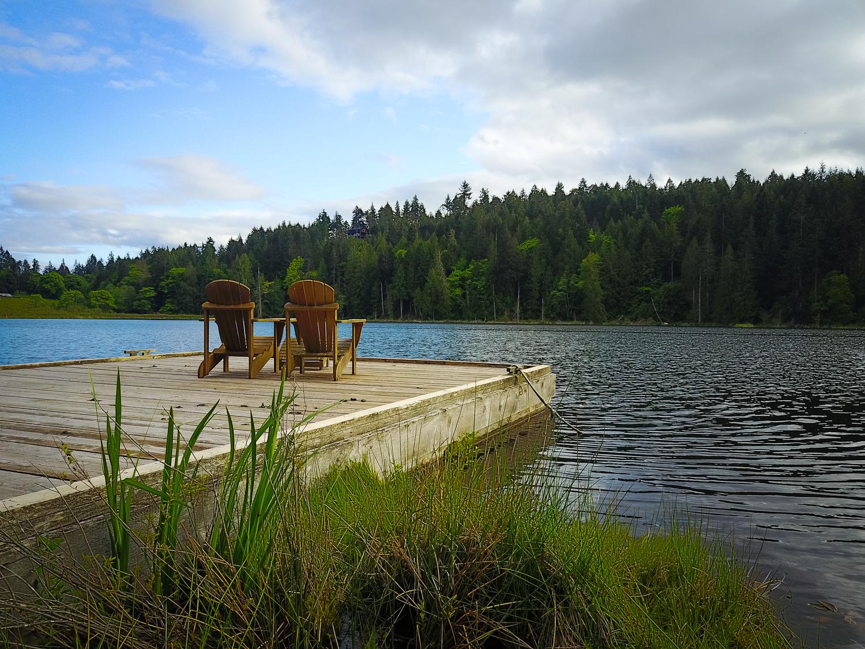 Beautiful pier on the lake