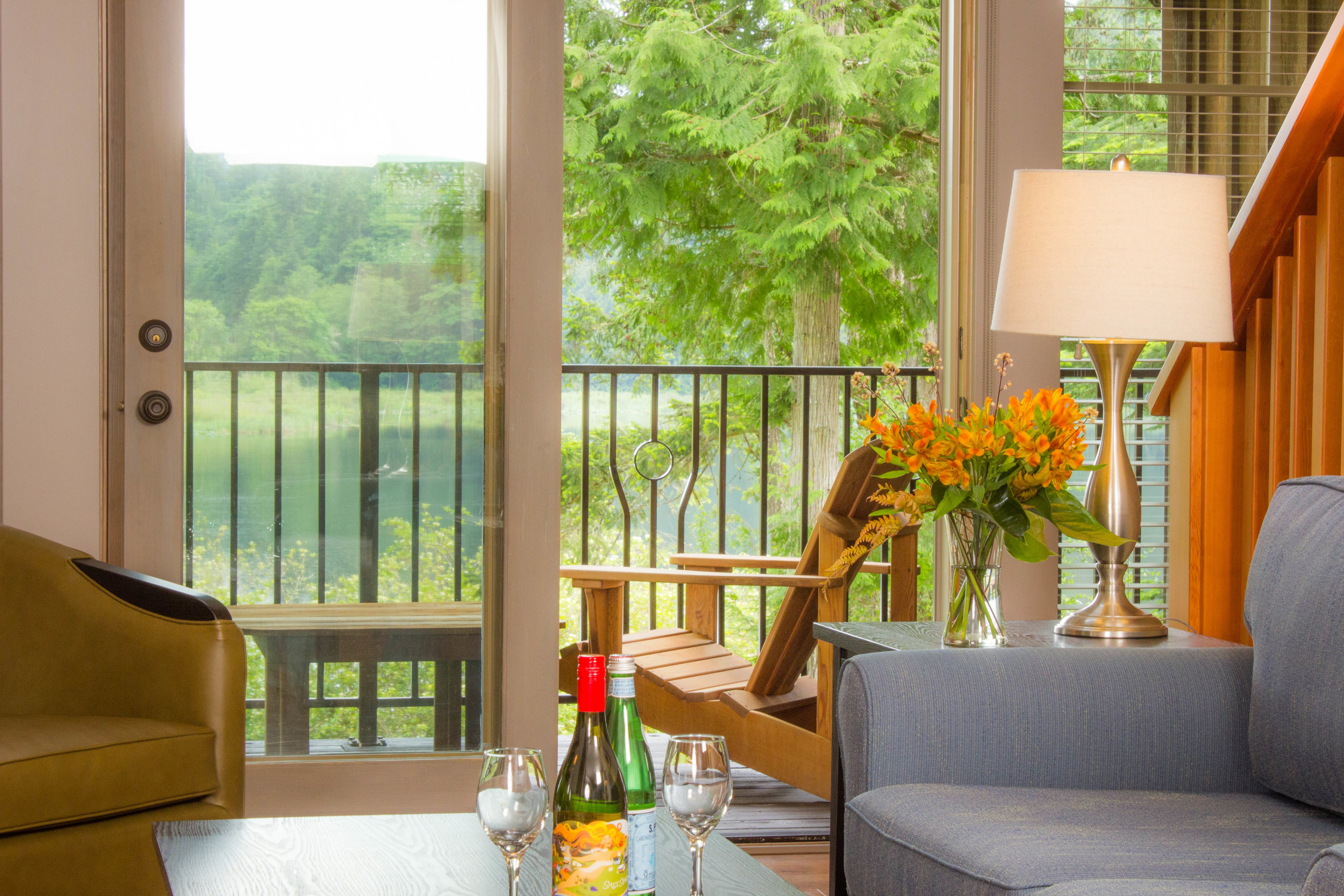 Cedar decks with custom metal railings