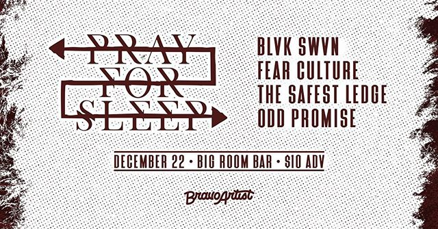 SHOW ANNOUNCEMENT: We're very excited to announce that we'll be playing with @prayforsleepband , @blvkswvn, @safestledgeoh, and @oddpromise_ on December 22 at Big Room Bar. This is gonna be a fun one!