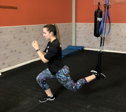 Exercise #1: One leg Split Lunges: Make sure you get your balance before you try to do a lunge. Stand by a wall or another person if you feel unsteady. Keep your chest up and your weight in your front heel.  Complete 15 reps on each leg