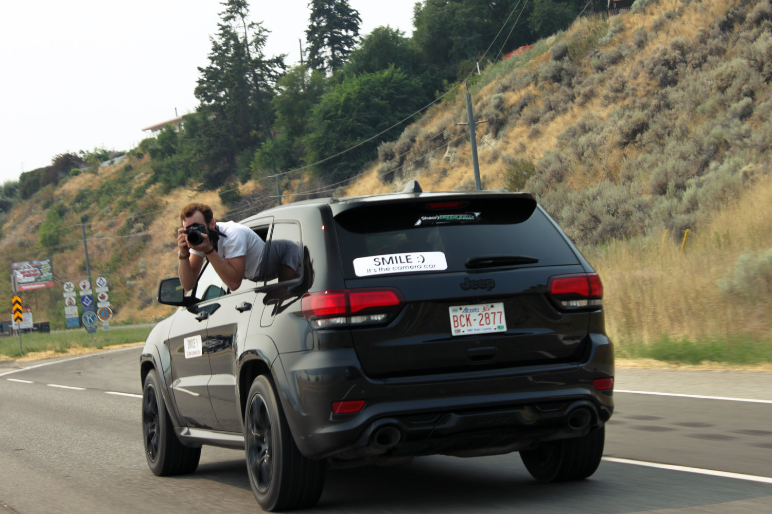 I was paired up with a guy n' gal for the majority of the cruise in an SRT8 Jeep, labeled as one of the official camera vehicles; which, for a couple of randoms who walked into August only days before the rally to try and snag a front row spot, was an absolute honor.