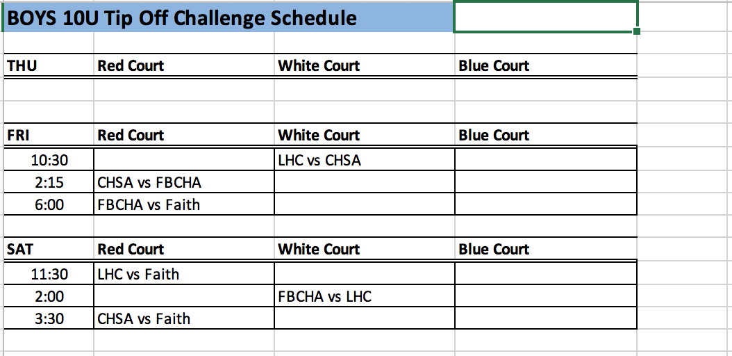 NO THURSDAY GAMES FOR B10U AGE GROUP