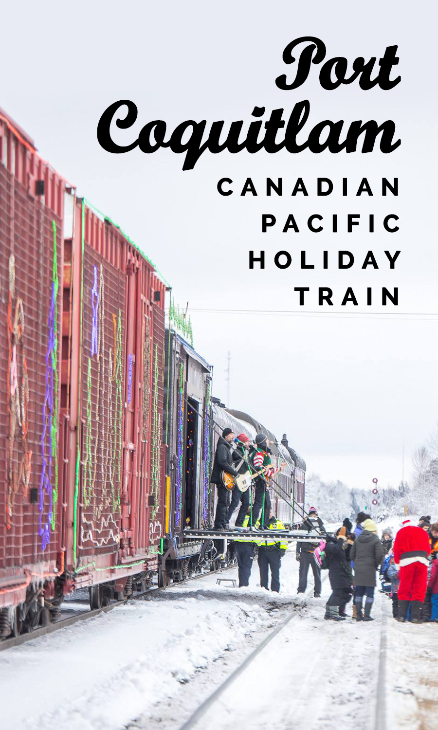 Canadian Pacific Holiday Train - A pan-Canada 1,000 feet train traveling across the country and bringing performances to you on a brightly decorated boxcar stage – can Christmas get better than this? The Holiday Train will offer live holiday-themed music when it stops at the West Coast Express Station in Port Coquitlam, before slipping off into the night again.There is also Skate with Santa at the PoCo Rec Complex (just across the street from the train station) from 1:15pm to 3:45pm, calling for a day packed with fun and holiday spirit in Port Coquitlam.WHEN:December 17 •6pm to 6:45pmSkate with Santa at the PoCo Rec Complex: 1:15pm to 3:45pmWHERE: Port Coquitlam West Coast Express Station, Port Coquitlam (map)COST: FREE (accepts heart-healthy donation or monetary donation for the local food bank)Skate with Santa: regular public skate admission