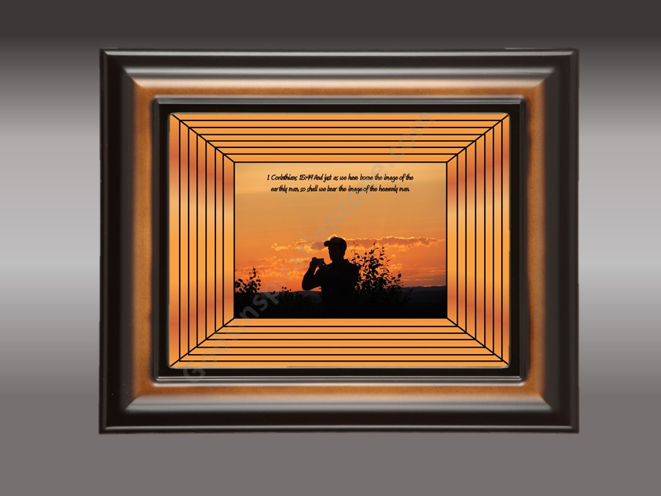 I just happen to get the image of another person getting the sunset it turned out wonderful. I added the art work.  1 Corinthians 15:49 And just as we have been born the image of earthly man, so shall we bear the image of a heavenly man. #39
