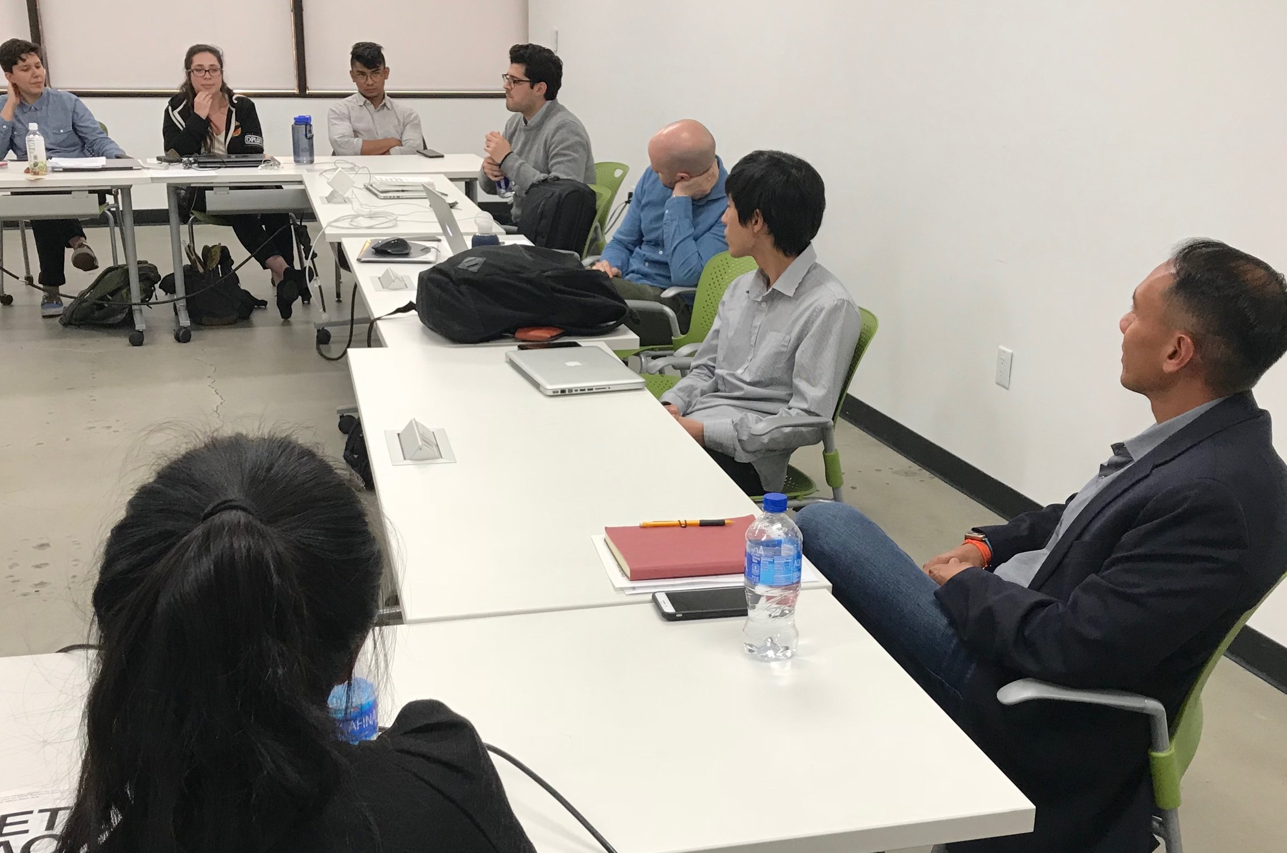 Students interact with Agnes Carrera and Percival Carino (former Crafting a Meaningful Career participants) during mock job interviews in the Presentation and Career Preparation class.
