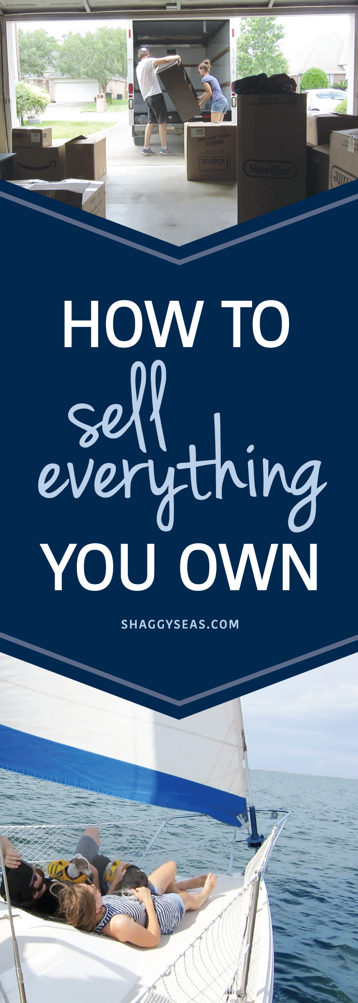 How to Sell Everything You Own-ShaggySeas  Wondering how to downsize to live a minimalist lifestyle traveling the world? Learn how we sold everything to sail the world! From garage sales to selling online and when to sell your stuff, you'll learn the basics to be well on your way to selling everything you own to travel the world!