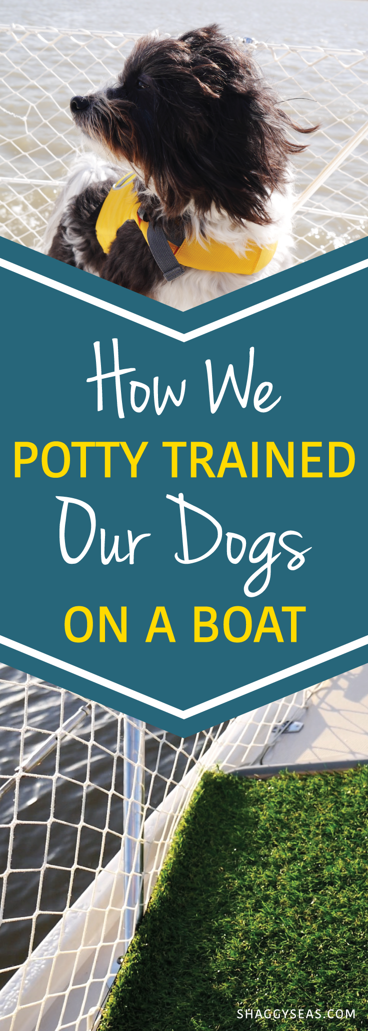 """How We Potty Trained our Dogs on a Boat - Ever wondered how to train your dog to """"go"""" on a boat? Learn how we trained our dogs so they can relieve themselves without us needing to dinghy to shore!"""