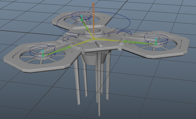 I decided to start this week of with something relatively easy so I decided to model, rig and animate the drones the second boss will use a weapons. This was a pretty simple task and I knew it would only really take a day. We settled on a design that was modular, allowing the drones to fit together when attached to the boss. This image shows the simple rig made for it.