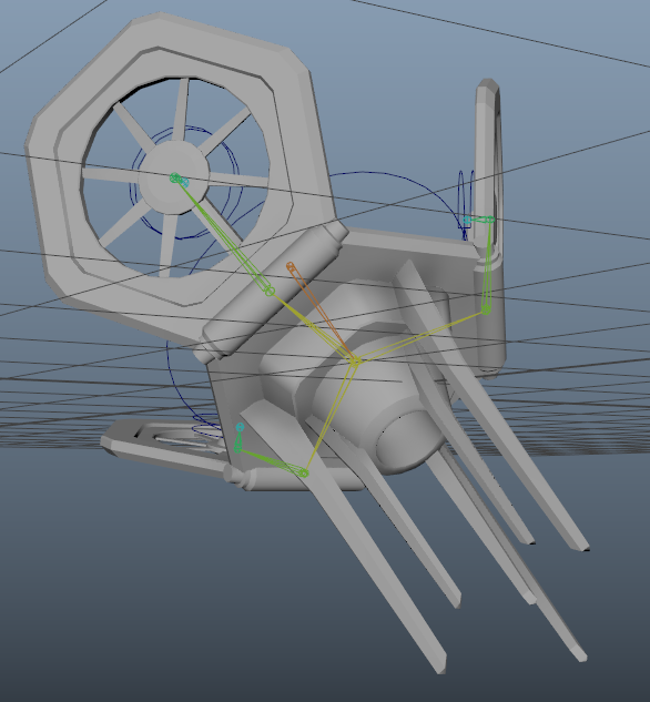 This image shows the basic animation capabilities of the rig. In this image the drone is in a position where it will launch at the player and stick into the ground.