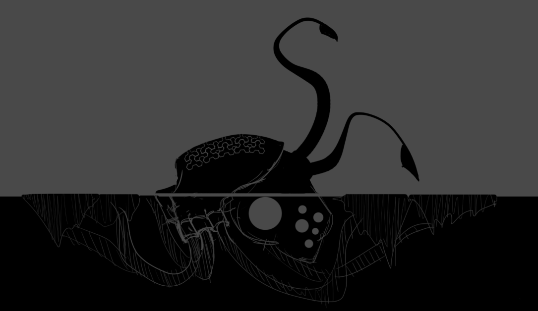 This was the initial silhouette that I drew for the second boss. A lot of discussion was already had by this point and the reference gather had also been done much earlier so this was decided on pretty fast.