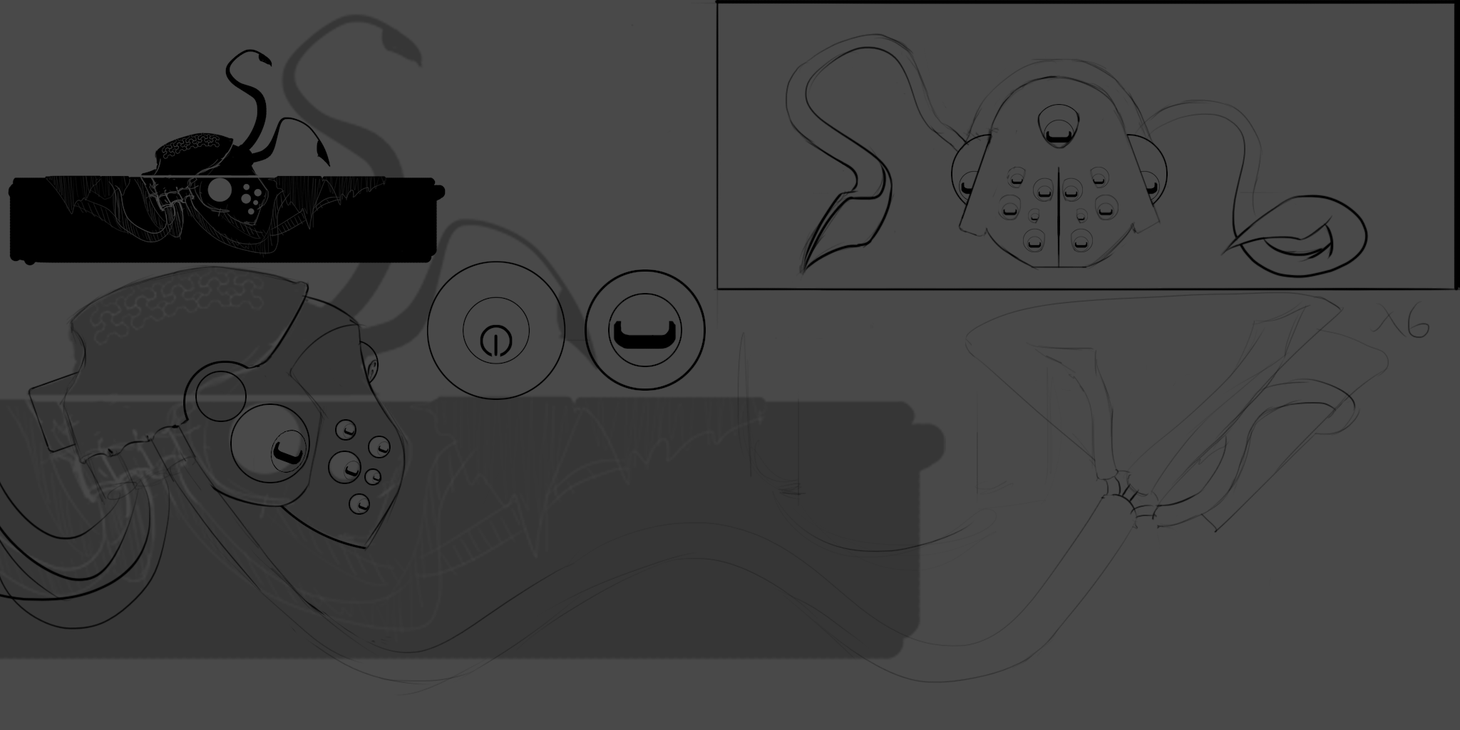 This image just shows some further design iteration once the idea was finalized. As you can see I really liked the idea of the eyes mirroring the real world influence of the design, so I created a mechanical version of a cuttlefish type eye.