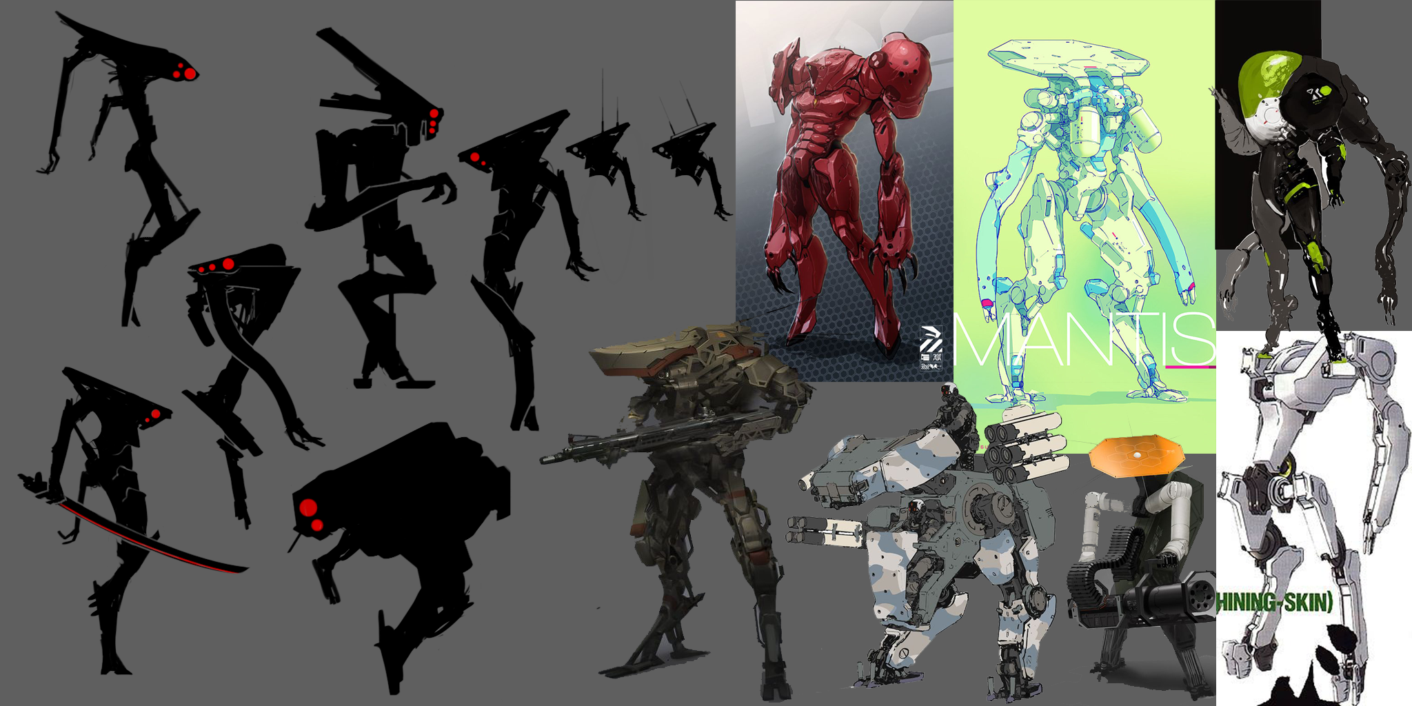 Initial concepting for ideas for the 3rd boss. We knew we wanted some sort of bipedal mech.