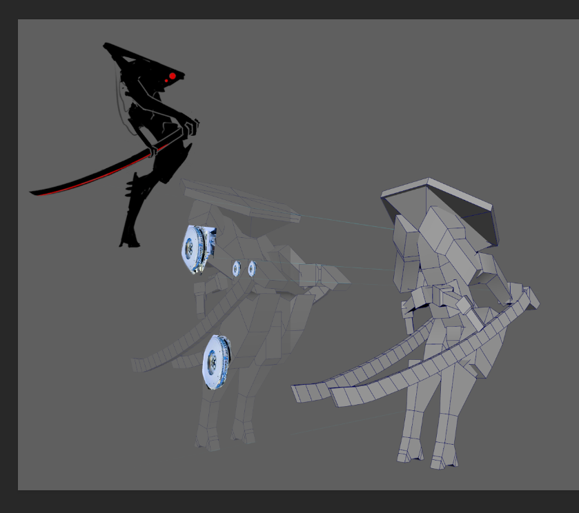 After adjusting the direction of the arms and blade, I quickly modeled a mock up in Maya to better figure out the form.