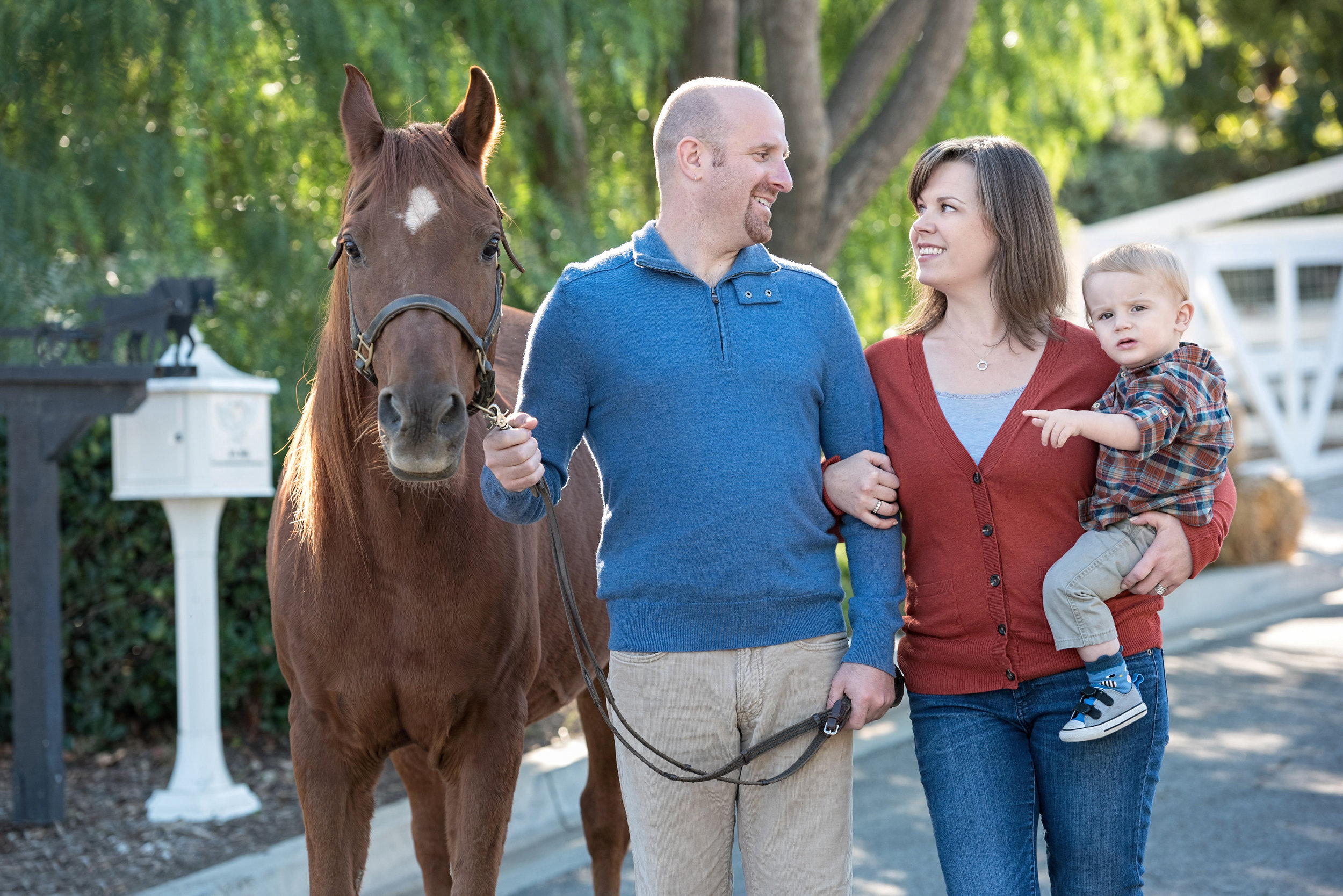 Family of three and their horse