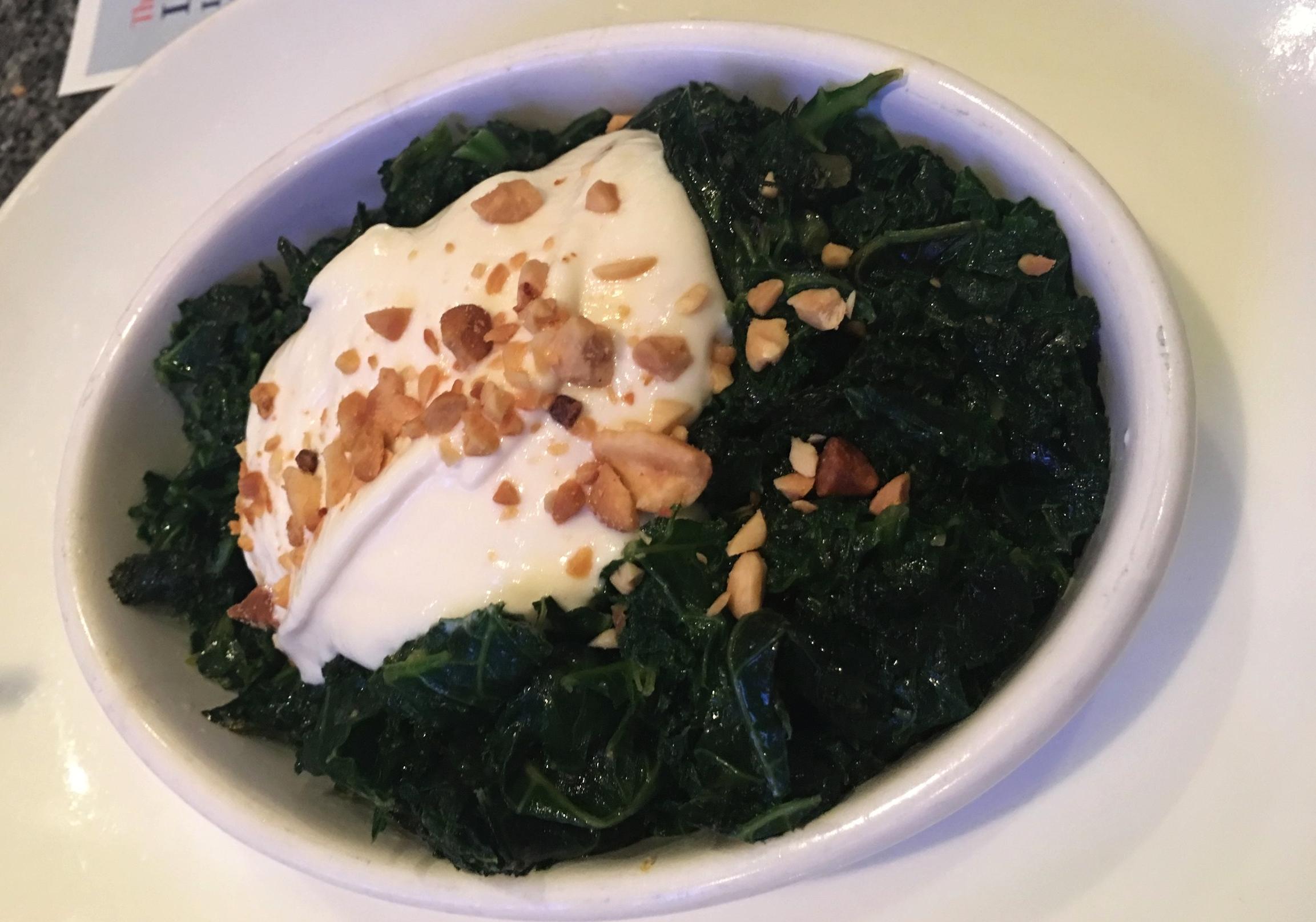Sauteed Kale with Yogurt and Peanuts