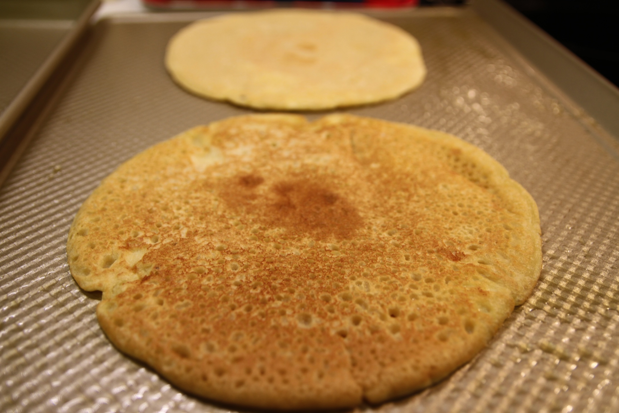 Large chickpea pancakes. Love the color.