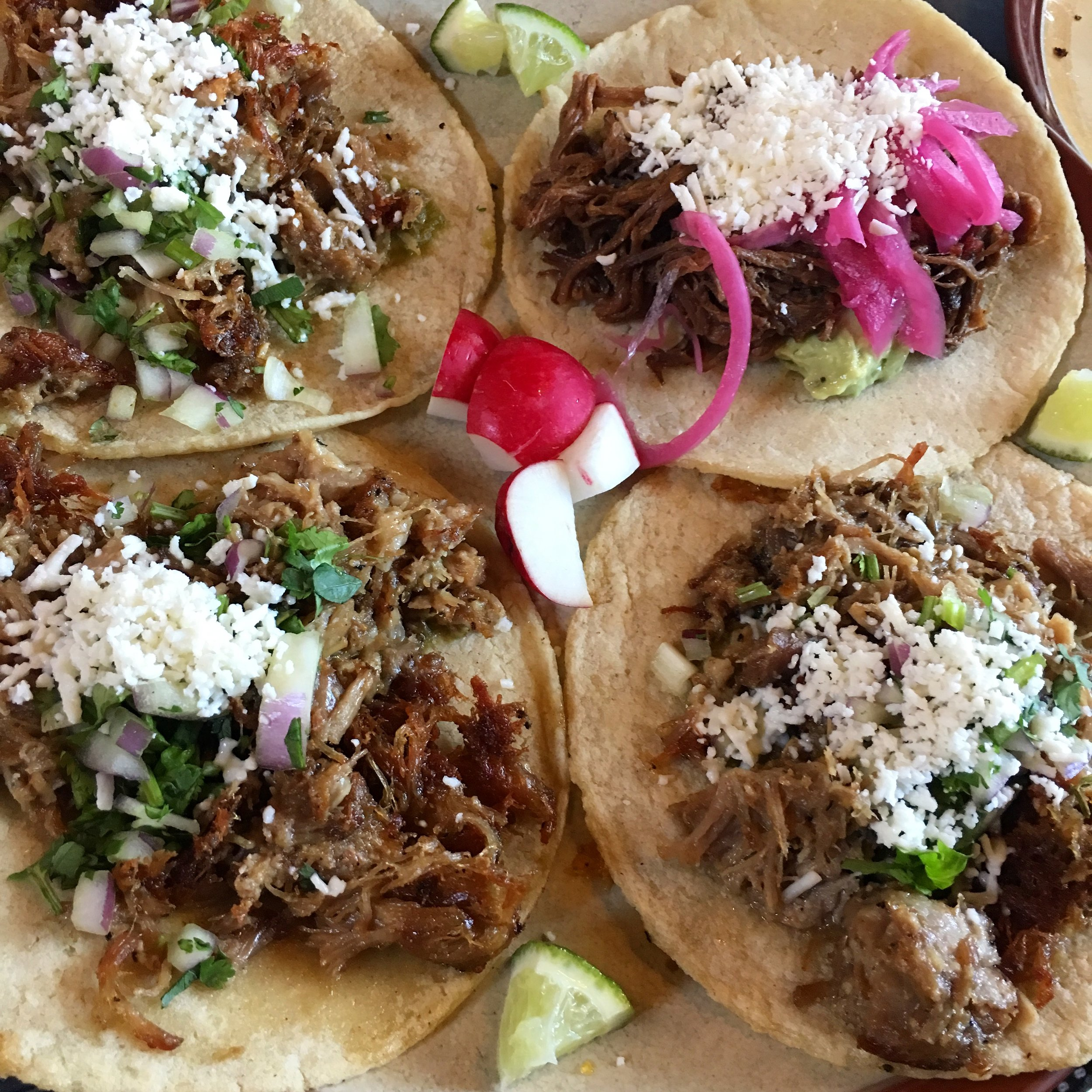 Carnitas and barbacoa tacos. Every time. OMG.