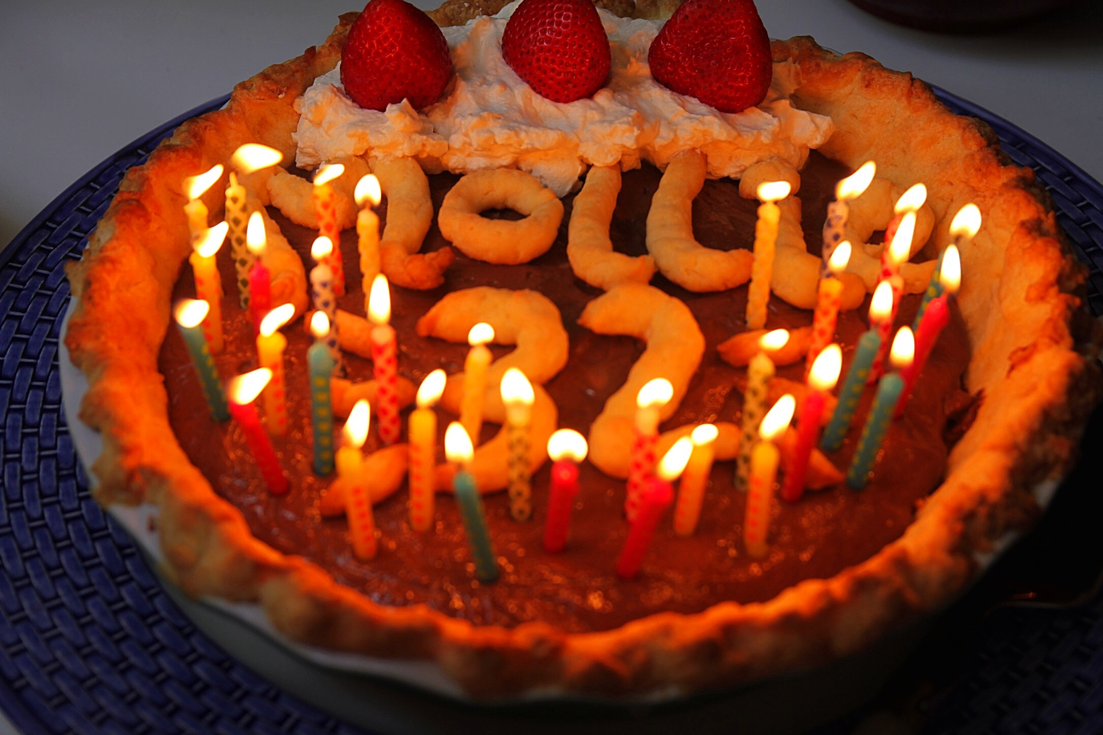 From-scratch gluten free chocolate cream pie - the best ever. My mom makes this for my birthday each year and it's incredible. And there are 33 candles on it because you need one for good luck! ;)