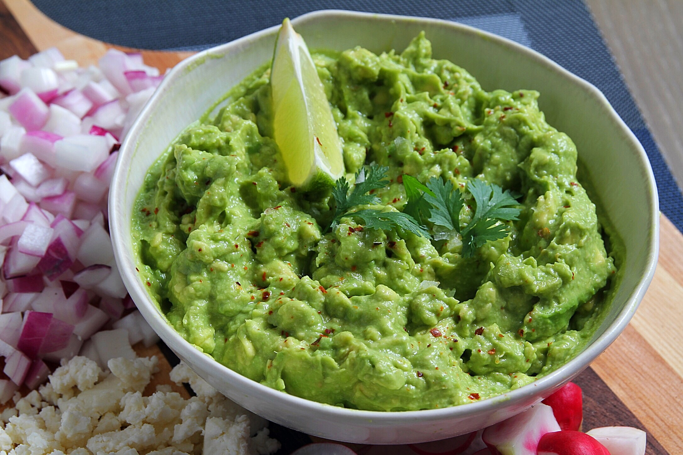 Not a recent guacamole photo, but we did enjoy some homemade guac while making the eggplant!