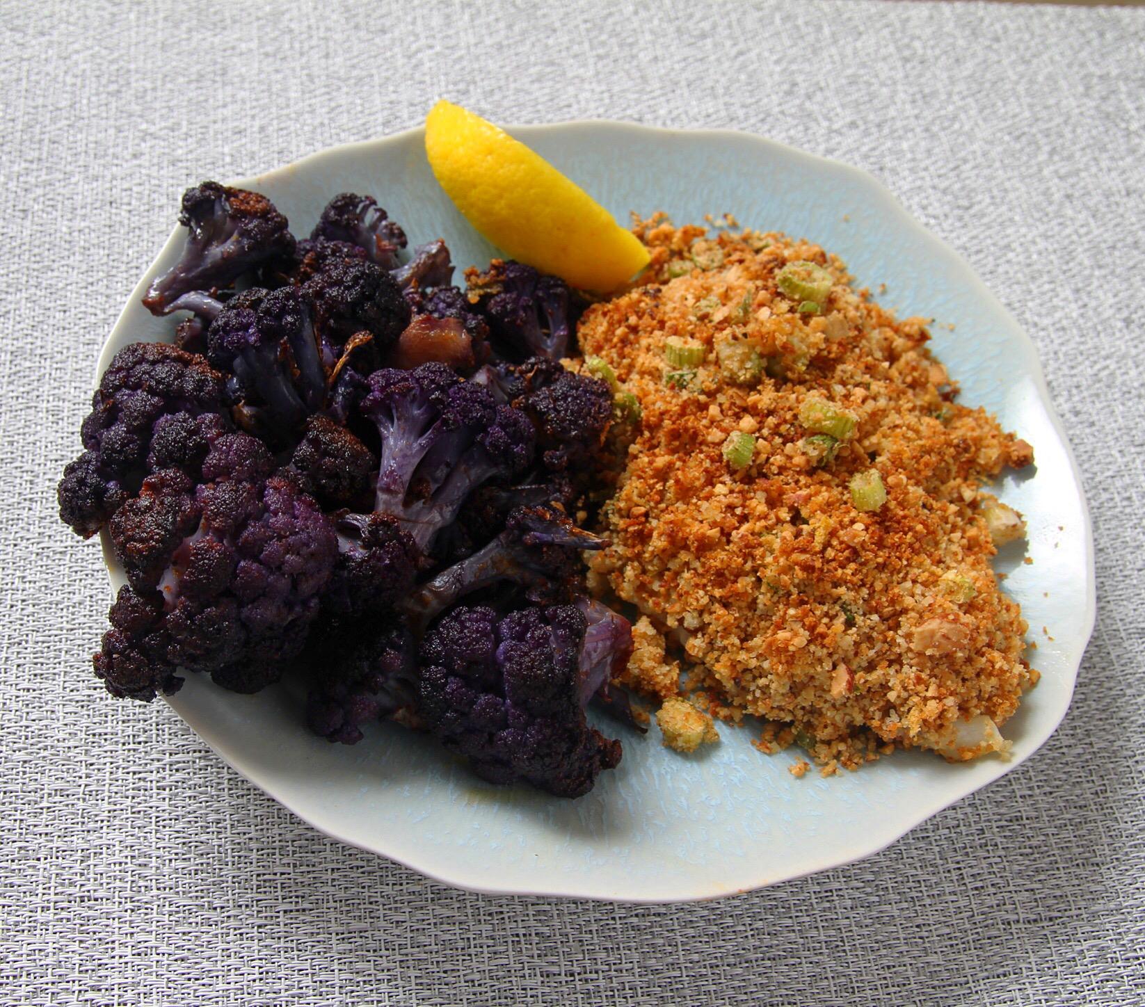 Almond lemon breadcrumb baked cod with roasted purple cauliflower.