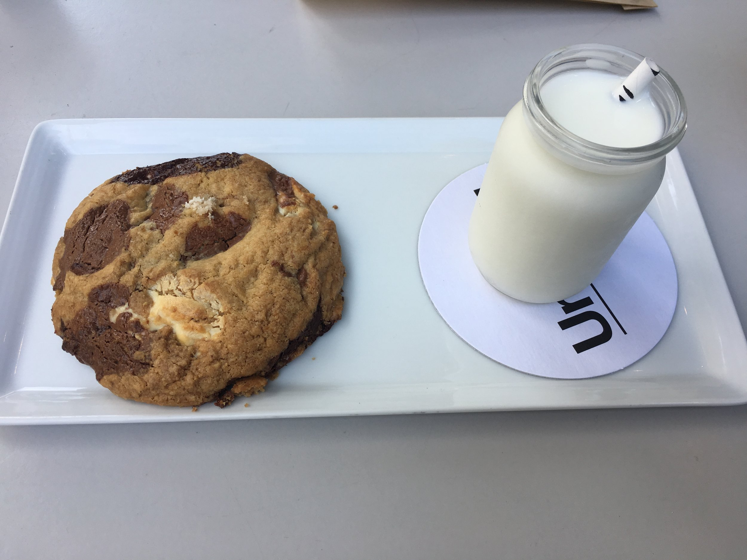 One of the best cookies of my life. Gluten free triple chocolate chunk cookie with glass of milk at Untitled, which is the restaurant in the Whitney Museum.