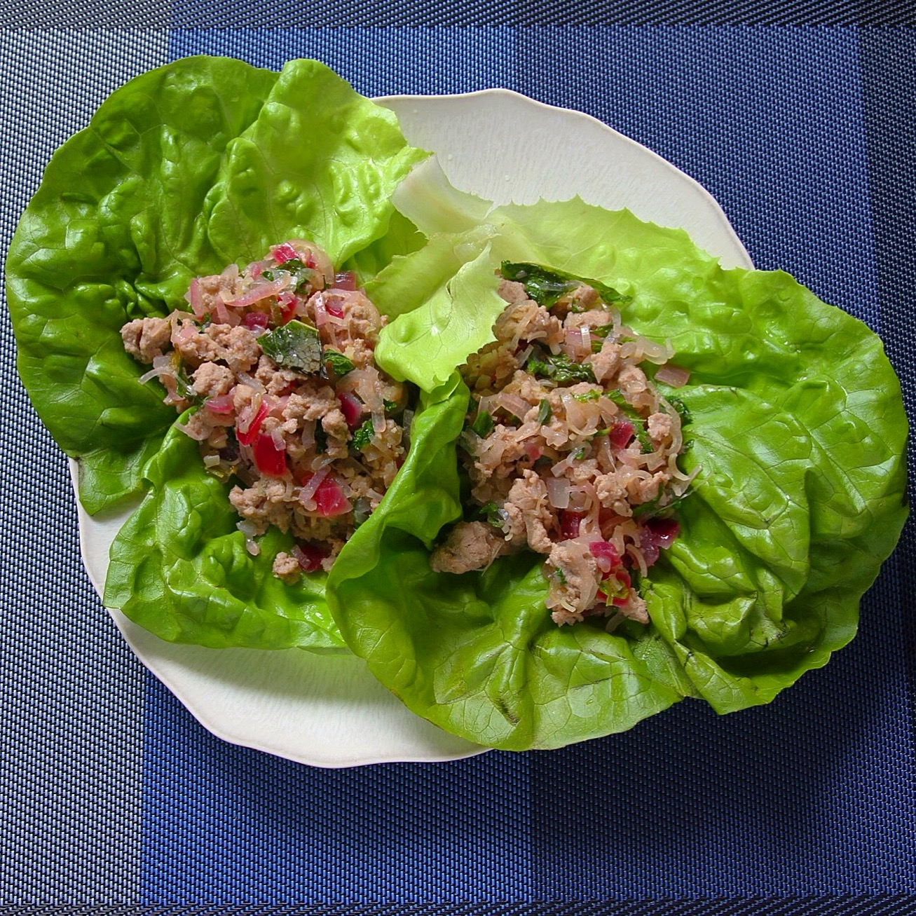 Thai turkey lettuce wraps. Recipe by Giada de Laurentiis.