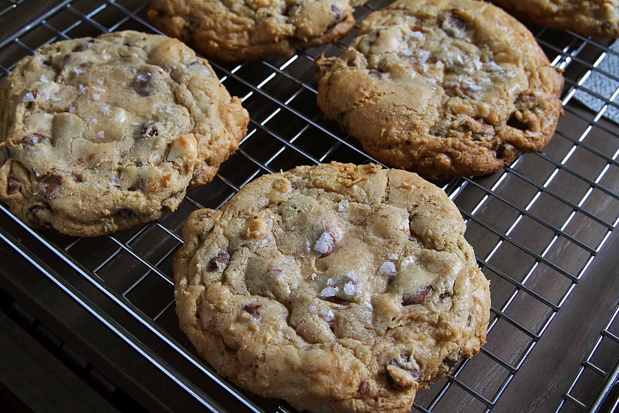 Triple-chocolate chunk GF cookies topped with sea salt. Hot out of the oven.