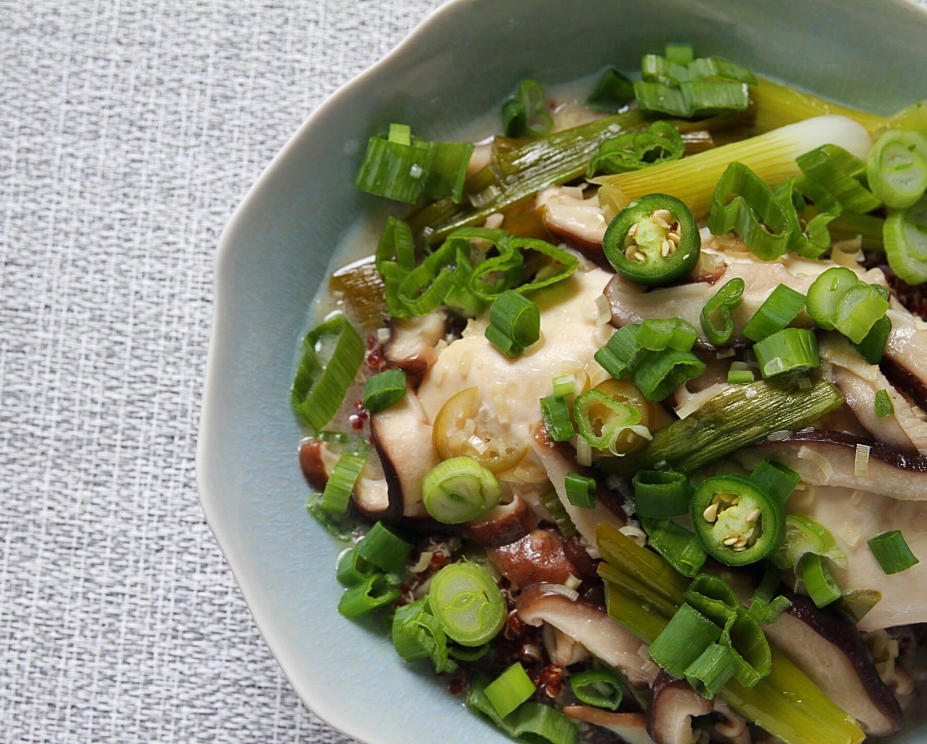Thai chicken with coconut milk and lemongrass.