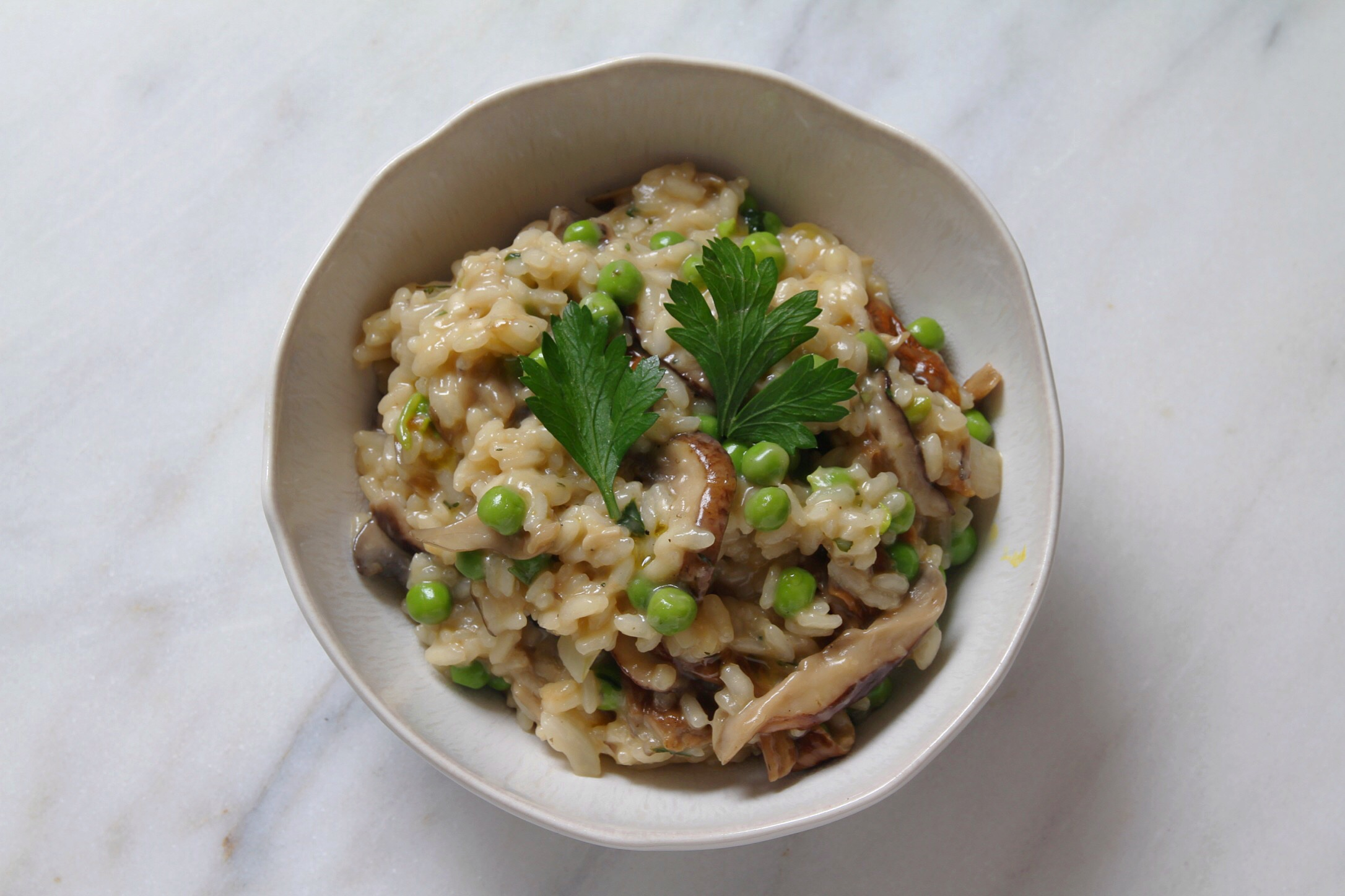 Mushroom and pea risotto, lactose free.