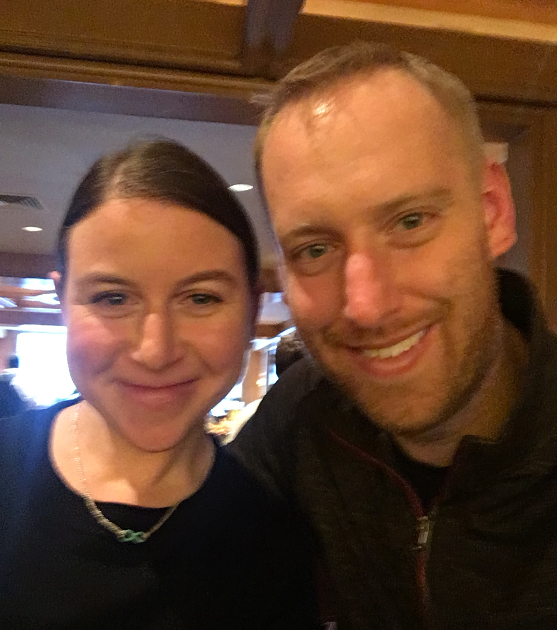 A recent photo of us out to lunch. I think it's blurry because we were so hungry. But I still love it. :)