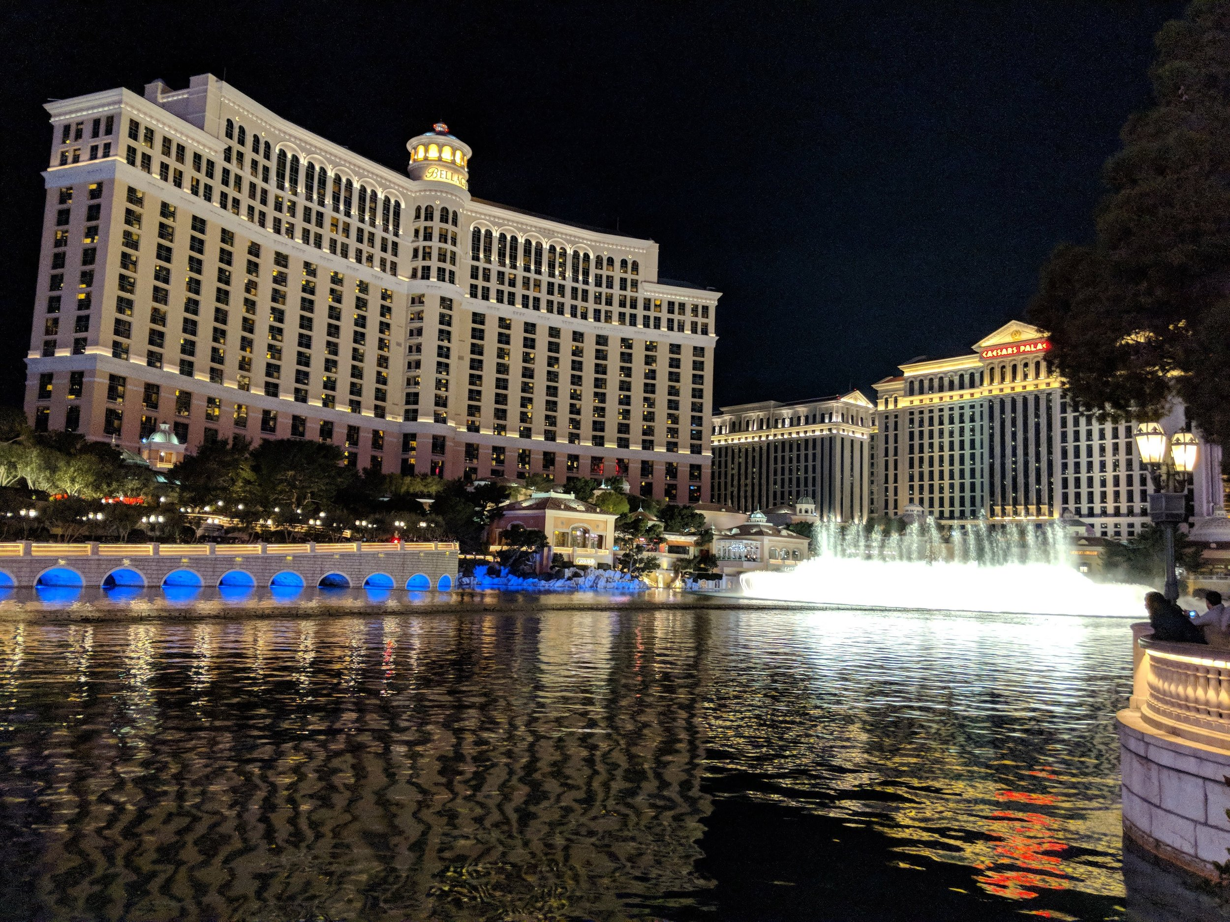 The Bellagio and its famous fountain display. Choreographed to music, no less!