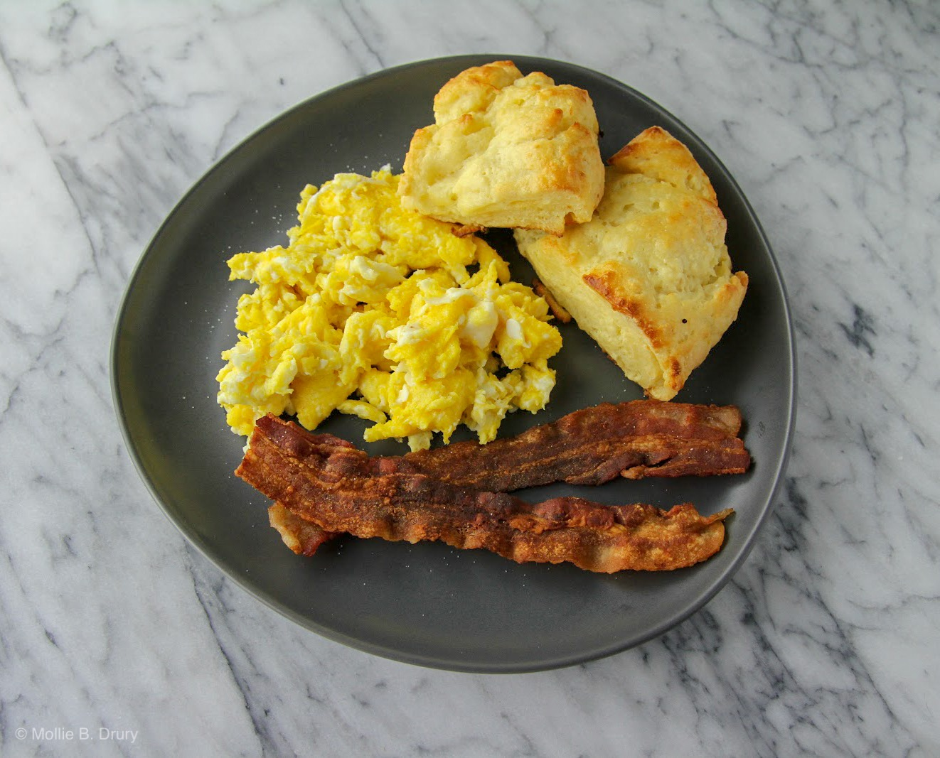 Fresh-made biscuits, bacon, and eggs. The ultimate breakfast.
