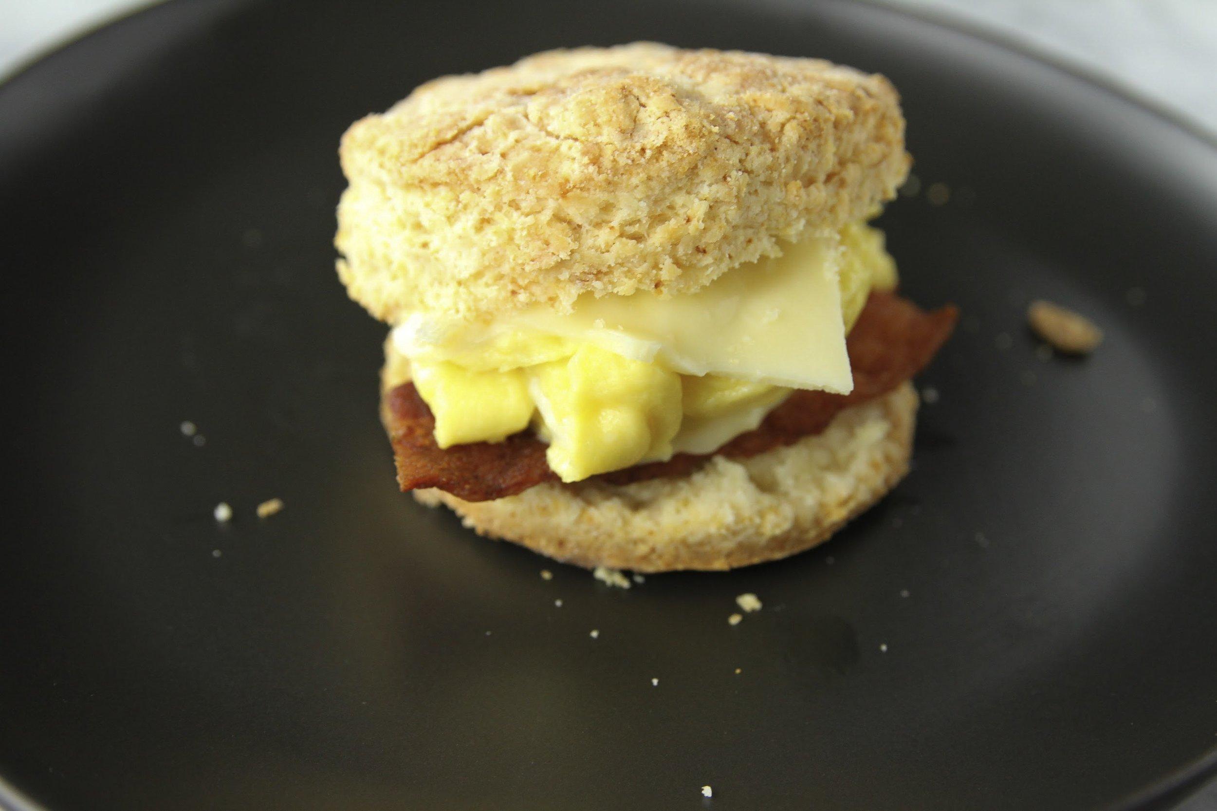 Gluten free buttermilk biscuit breakfast sandwich.