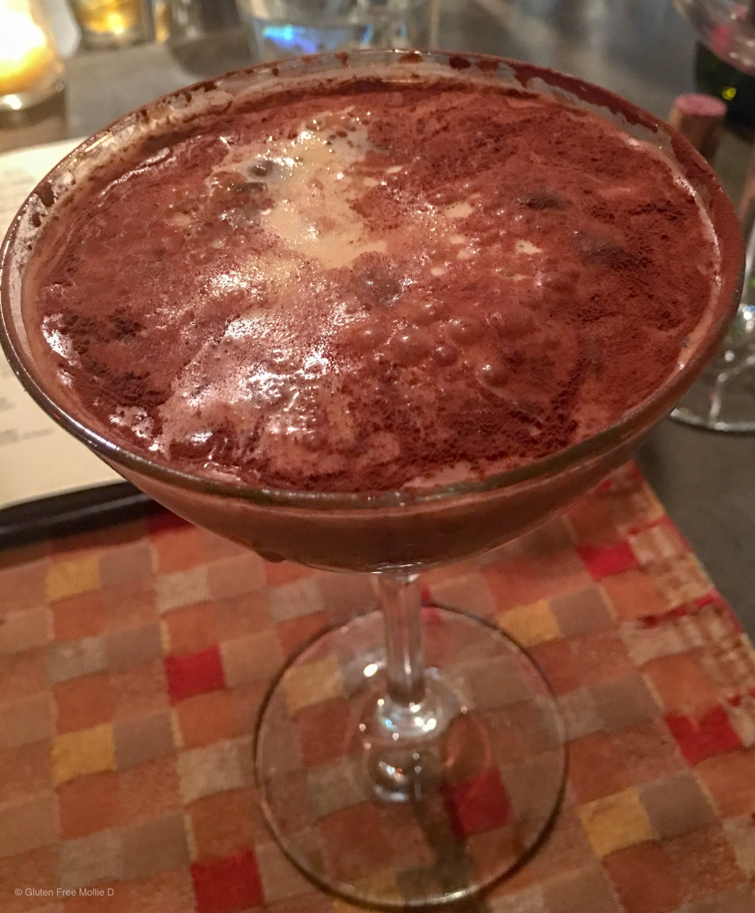 Espresso martini with cocoa powder