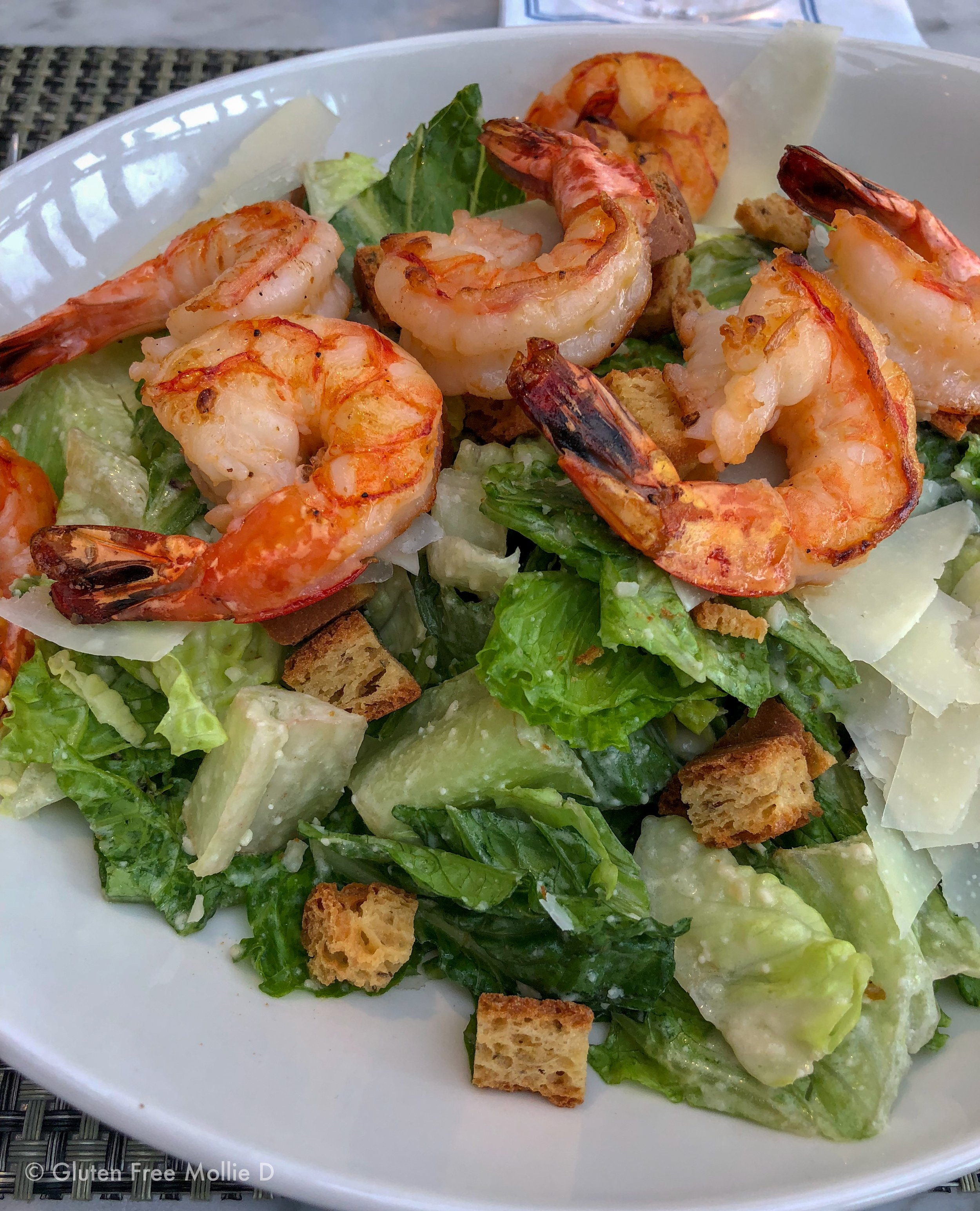 Caesar with shrimp at Legal. Always easy, delicious, and gluten free!