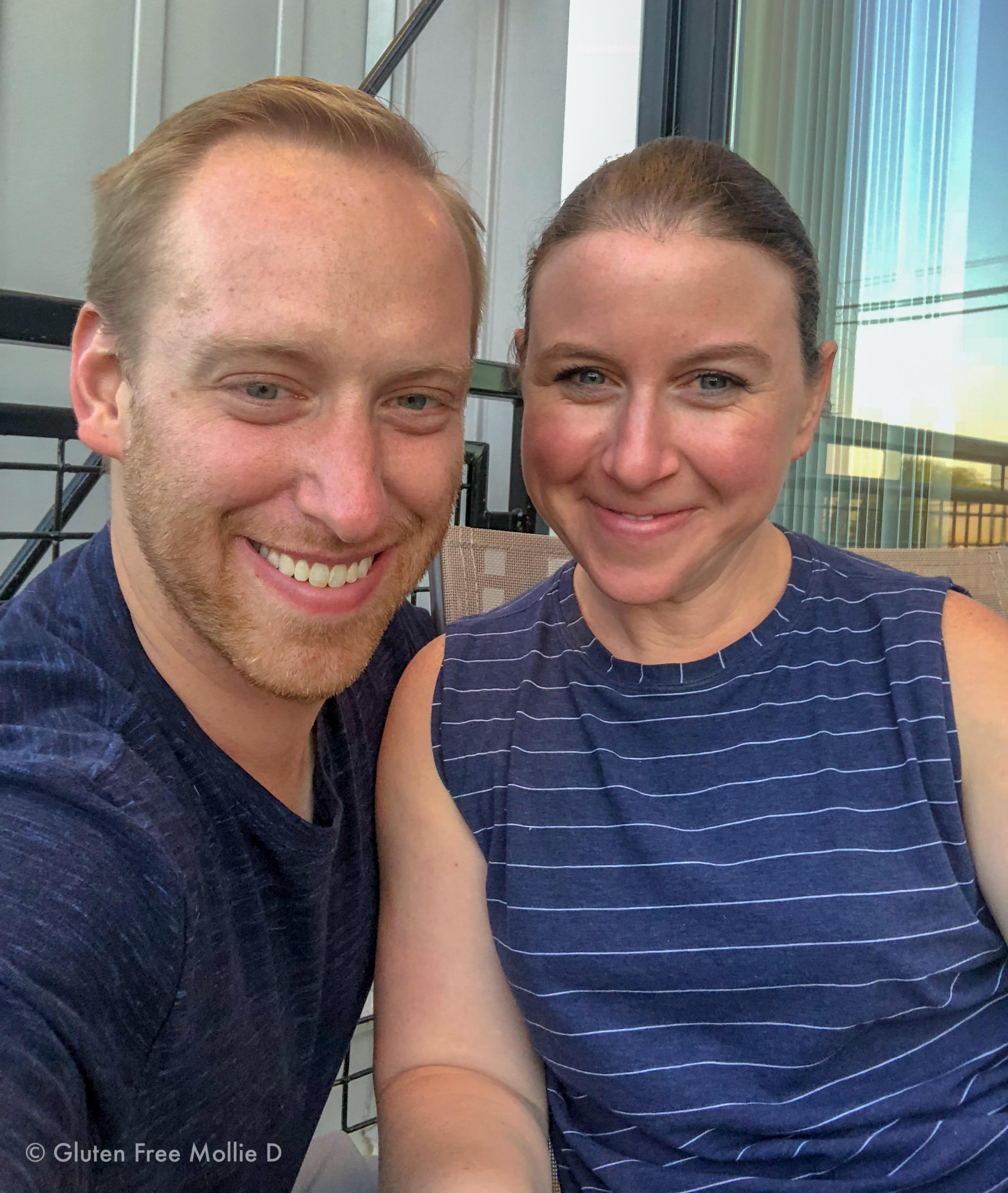 Balcony selfie, post-gym. We only look slightly sleepy! ☺️😬