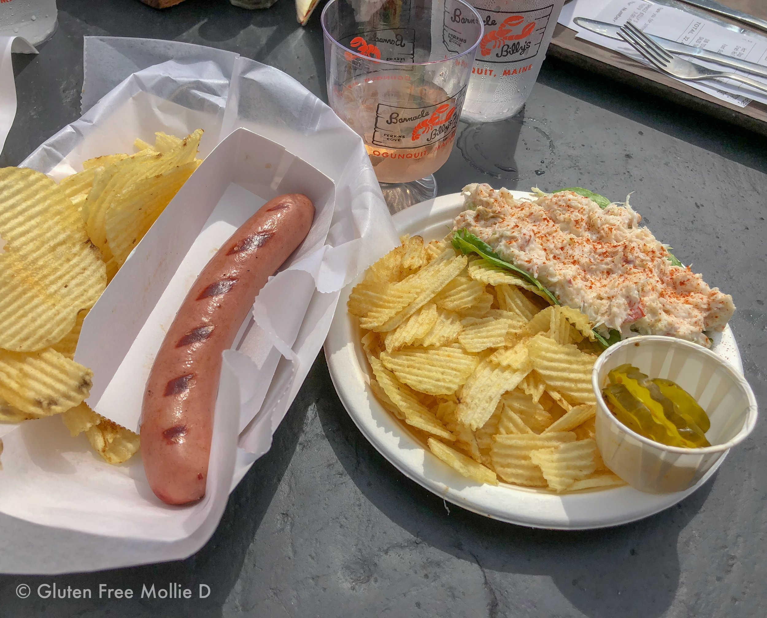 My order always includes a bun-less hot dog, and this time I added a crab roll (no roll).