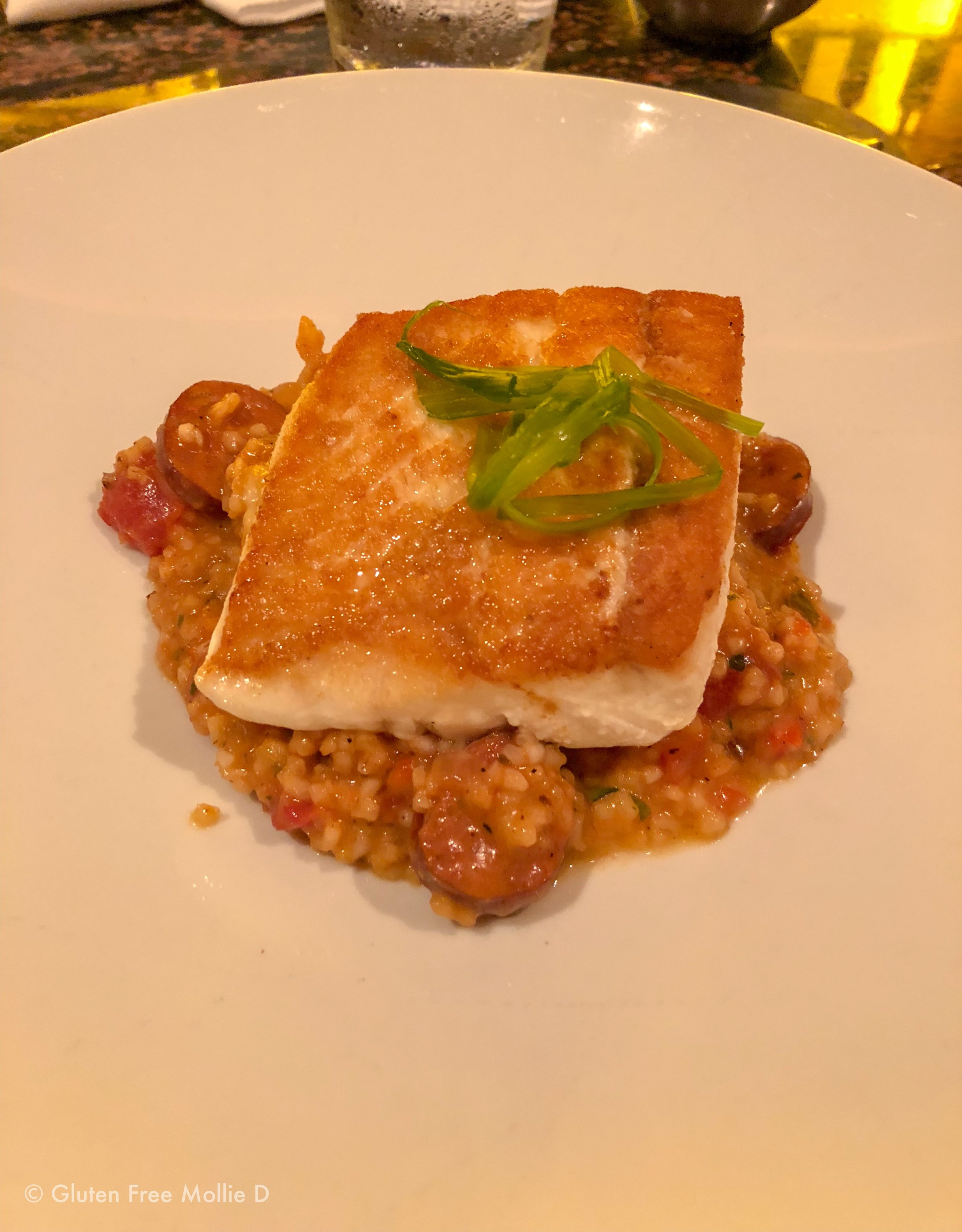 Seared halibut over jambalaya with andouille sausage. I licked the plate clean.