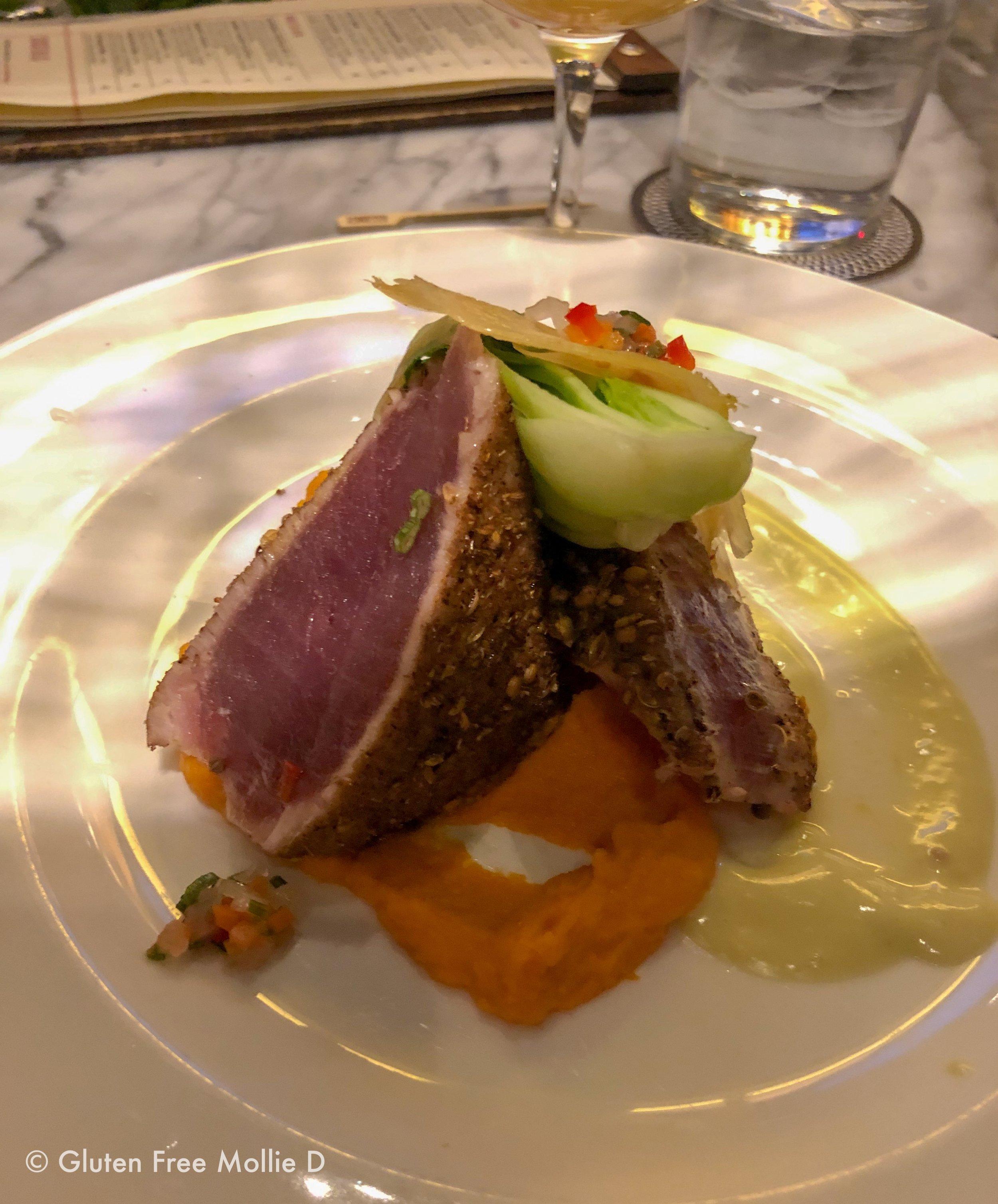 Seared tuna, post-fries.