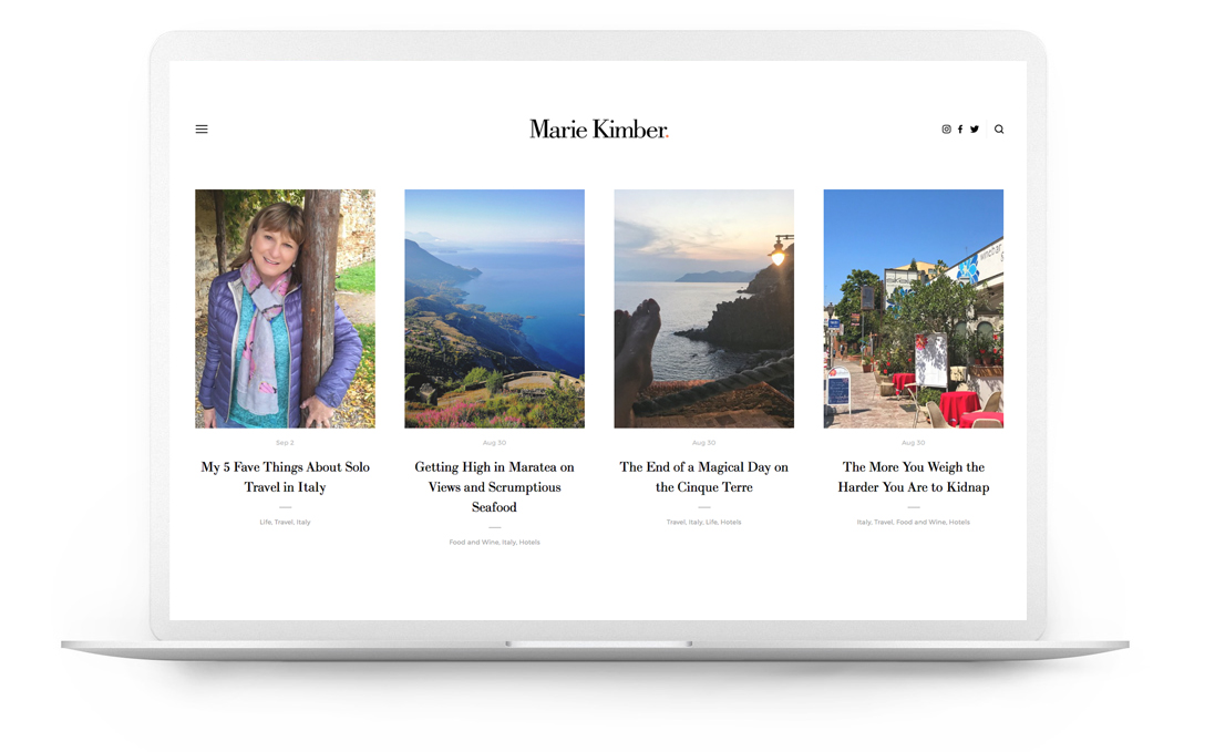 Squarespace website example - Travel Blogger