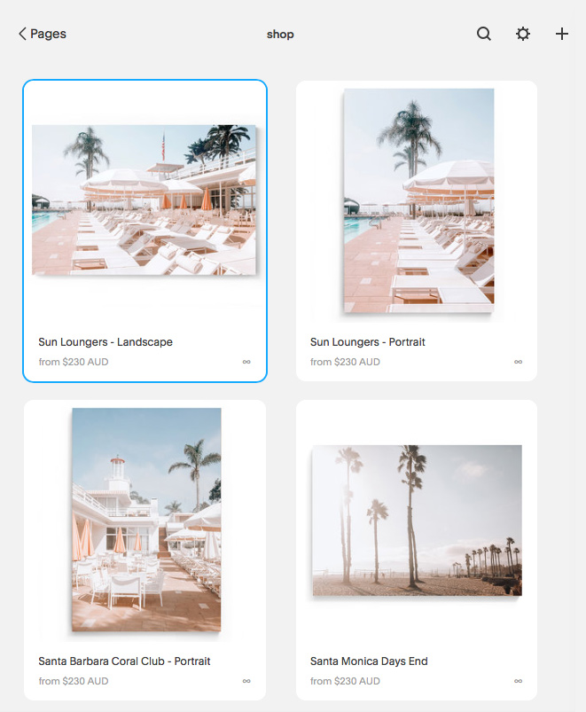 Squarespace Product page listing