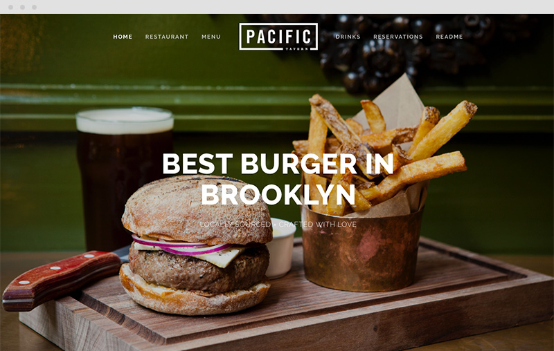 Pacific template is great for restaurants or single page long scrolling websites.