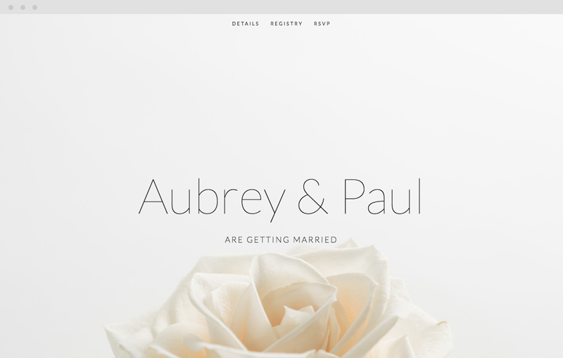 Aubrey is one of the easiest templates to build with and is set up manage your wedding