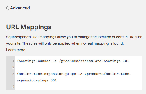 Squarespace URL Mappings example