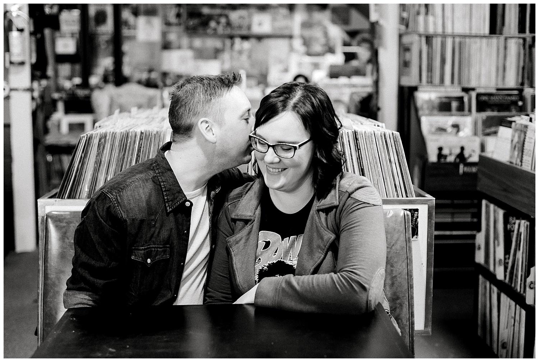 Hymie's Vintage Records Engagement session Lauren Baker Photography Winter engagement session