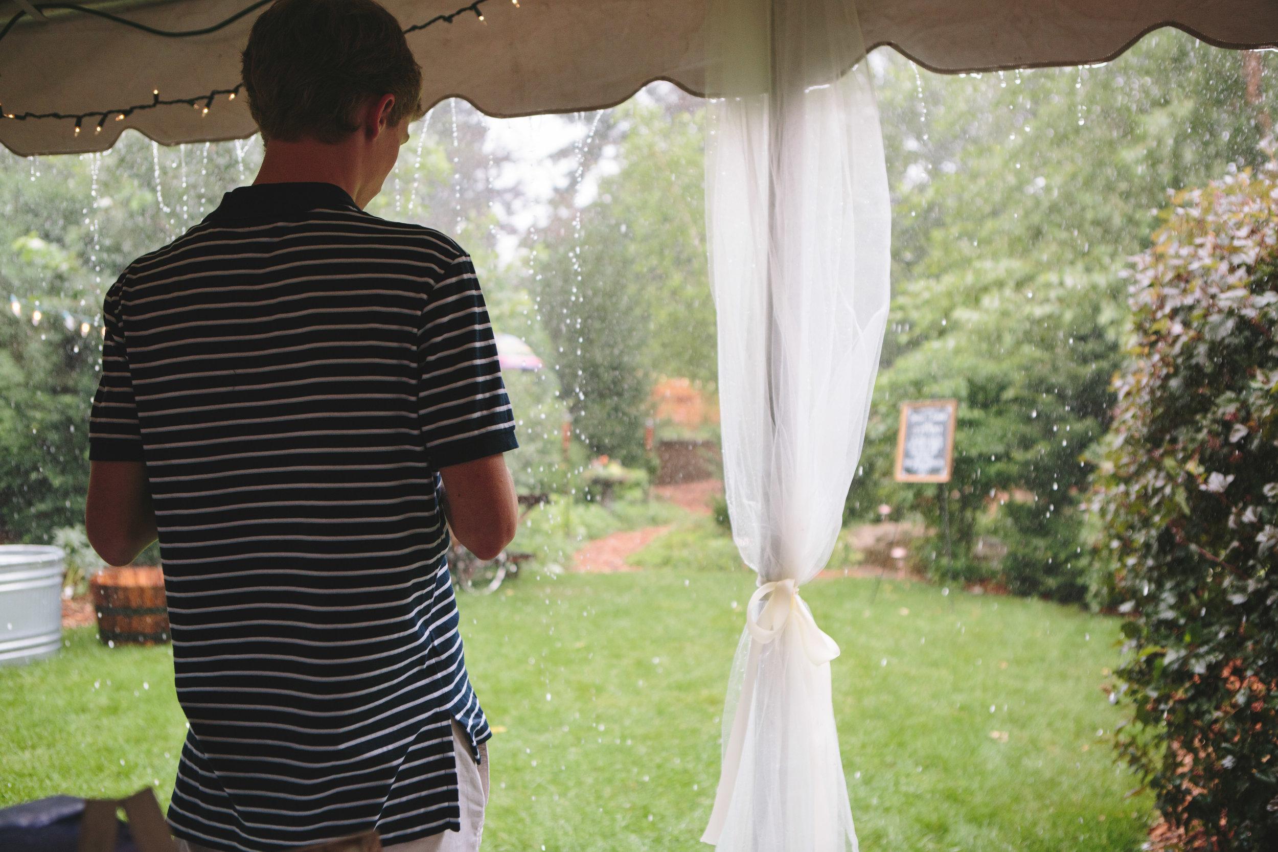 tented wedding reception, prepare for rain on wedding day, backyard wedding reception inspiration
