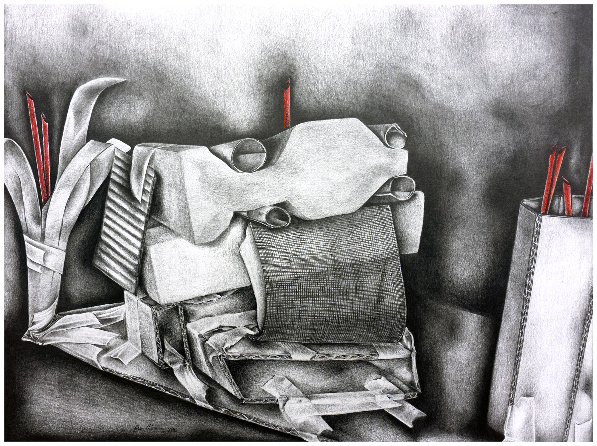 Brianna Harris. Graphite and Colored Pencil on Paper. Maquette building, and drawing study. 2018.    Drawing I open assignment. Students built a unique model using materials of their choice to create a series of drawings using model as reference. Strong focus on design and composition of both 3D model and 2D renditions, and rendering.