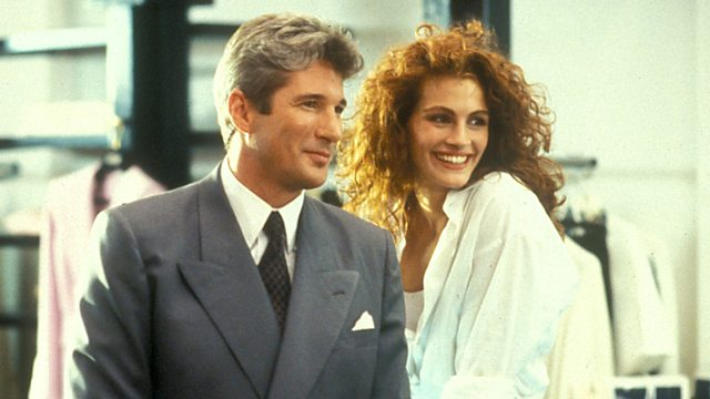 PRETTY WOMAN: A man in a legal but hurtful business needs an escort for some social events, and hires a beautiful prostitute he meets...only to fall in love.