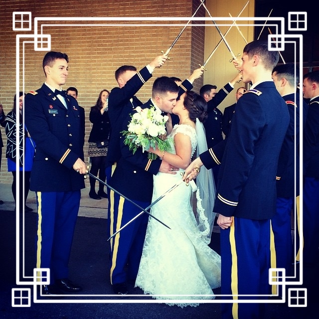 Michael and his beautiful bride, Becky, walk through the saber arch and enter into a life in the military.