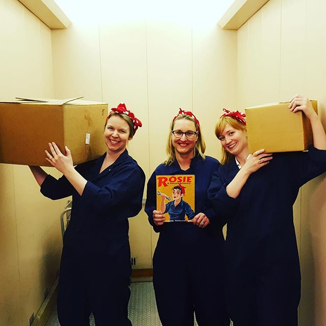 The Rosies of the Wayne State Press are mighty! They've been working hard to help bring our book- Rosie, a Detroit Herstory, to life. From lifting boxes to proofreading, graphic layouts to public relations, these gals are flexing all their publishing muscles! . . #rosietheriveter #Rosie #WorldWarII #Costume #TributeRosie #RosieAdetroitherstory #detroitherstory #detroit #book #youngadultbooks #childrensbook #nonfiction #wsupress @wsupress #bookcharacter #womenwarworkers #detroitwoman #reading #author #illistrator #outfit #historicaloutfit #rosietheriveter #writer #instabook #yaauthor  #book #tributerosies #michigan #history #femaleheroes #publisher #press